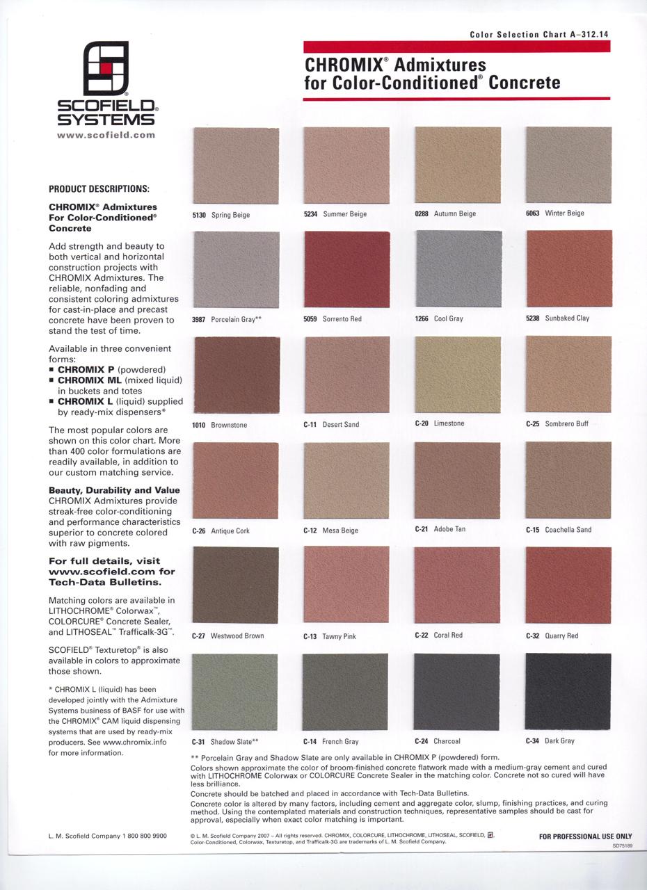 Concrete color charts concrete contractor rheocolor2 scofield chromix admixtures nvjuhfo Images